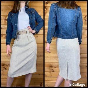 Vintage pencil high waisted skirt pleated belt 80s